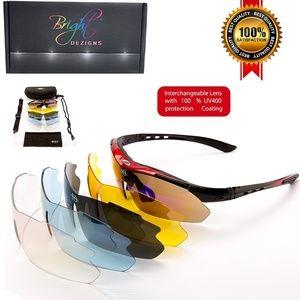 NWT  Unisex polarized sports sunglasses. 5 lenses
